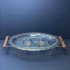 MCM Glasbake Serving Platter with Warming Cradle
